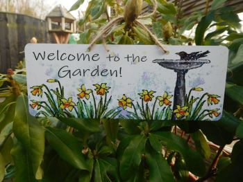 Garden Sign - Birdbath & Daffodils