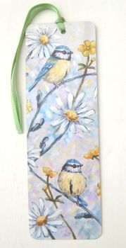 Bookmark - Bluetits & Daisies