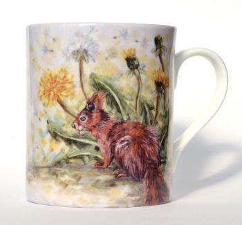 Mug or Coaster- Squirrel & Dandelions