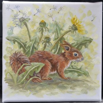 Small Canvas - Squirrel & Dandelions