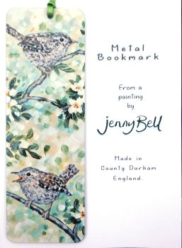 Bookmark - Wrens & white blossom