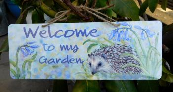 Garden Sign - Hedgehog & Bluebells