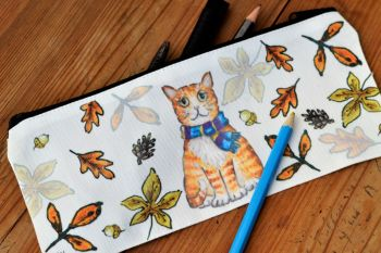 Pencil case or Tidy Pot - Autumn Cat