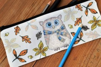 Pencil Case or Tidy Pot - Autumn Owl