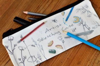 Pencil case or Tidy Pot - Bluebells & Buttercups drawing