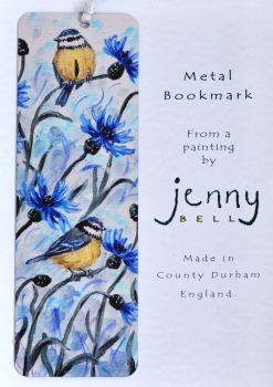Bookmark or Keyring - Blue Tits & Cornflowers