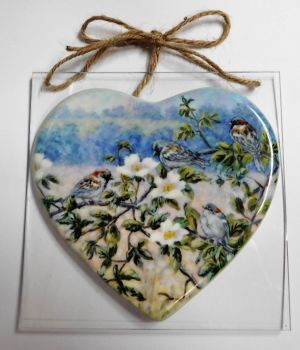 Ceramic Heart - Sparrows & Roses