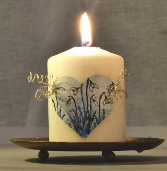 Heart Candle Wrap - Snowdrops