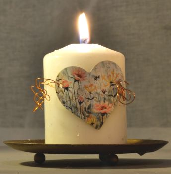 Heart Candle Wrap - Roses & Honeysuckle