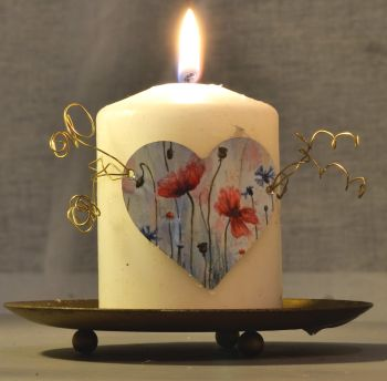 Heart Candle Wrap - Wild Poppies