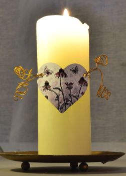 Heart Candle Wrap - Pink Daisies