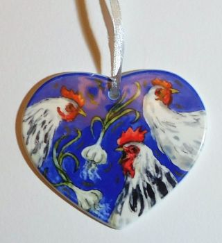 Heart Candle Wrap or Hanging Decoration - Three French Hens