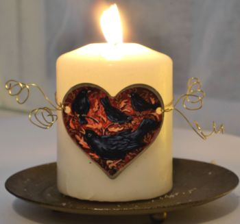 Heart Candle Wrap or Hanging Decoration - Four Calling Birds