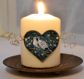 Heart Candle Wrap or Hanging Decoration - Two Turtle Doves