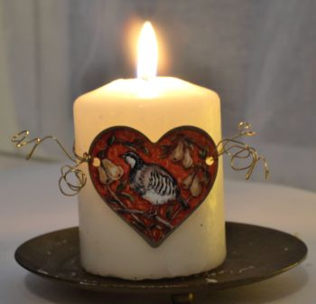 Heart Candle Wrap or Hanging Decoration - Partridge in a Pear Tree.