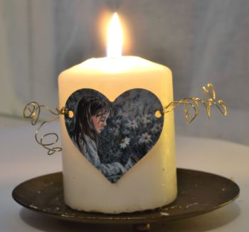 Heart Candle Wrap or Hanging Decoration - Daisy Girl