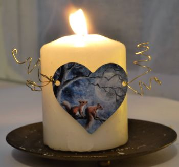 Heart Candle Wrap or Hanging Decoration - Moon Squirrels