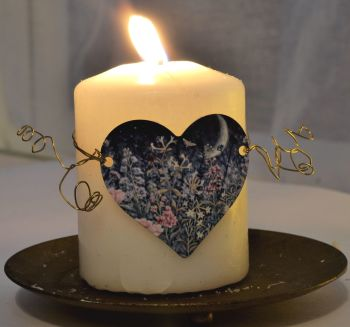 Heart Candle Wrap or Hanging Decoration - Midnight Garden