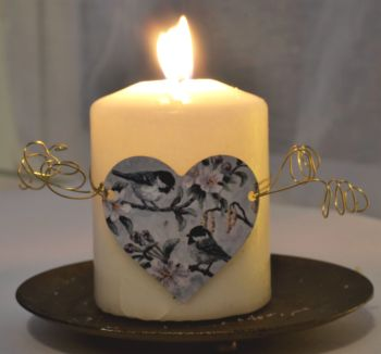 Heart Candle Wrap or Hanging Decoration - Coal Tits Spring