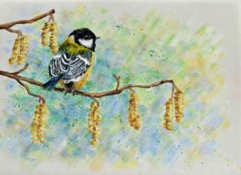Small Canvas - Great Tit & Catkins