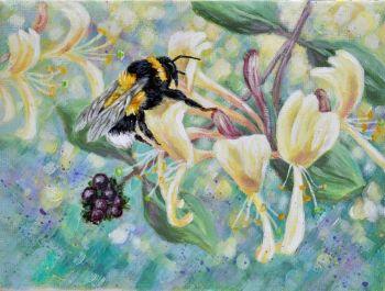 Orginal Small Canvas - Honeysuckle & Bee