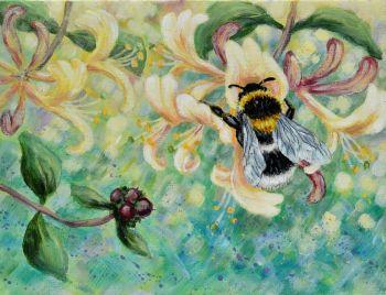 Orginal Small Canvas - Honeysuckle & Bee 2