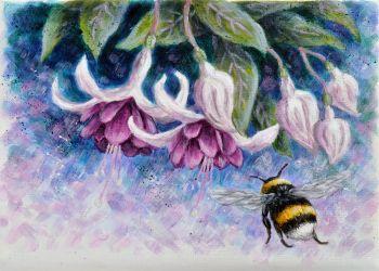 Orginal Small Canvas - Fuchsia & Bee