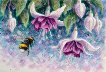 Orginal Small Canvas - Fuchsia & Bee 2
