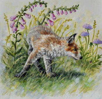 Small Canvas - Fox Cub & Bee
