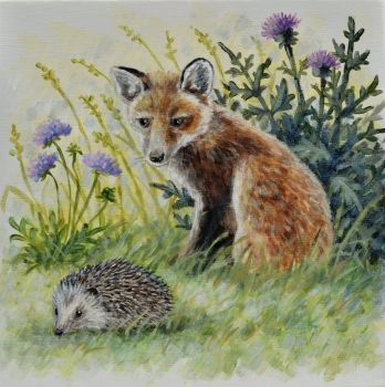 Small Canvas - Fox Cub & Hedgehog