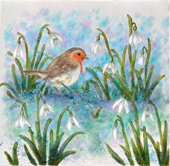 Small Canvas - Robin & Snowdrops R