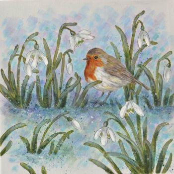 Small Canvas - Robin & Snowdrops L
