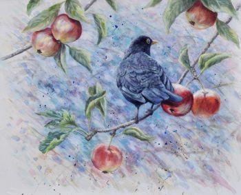 Original Paintings - Blackbird & Apples