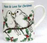 Mugs & Coasters-Doves & Holly