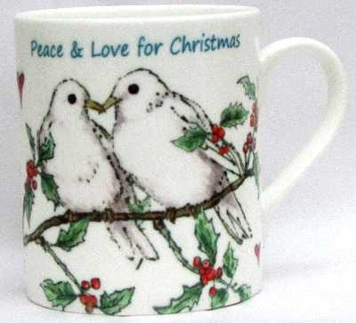 Mug-Doves & Holly