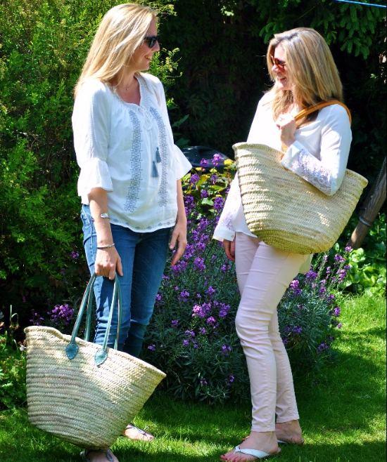 Wicker Shopping Basket Long Leather Handle
