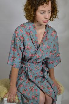 Mid Length Kimono Dressing Gown - Dusky Blue Rambling Rose