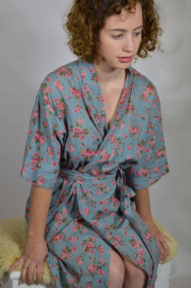 Mid Length Kimono Dressing Gown - Dusky Blue