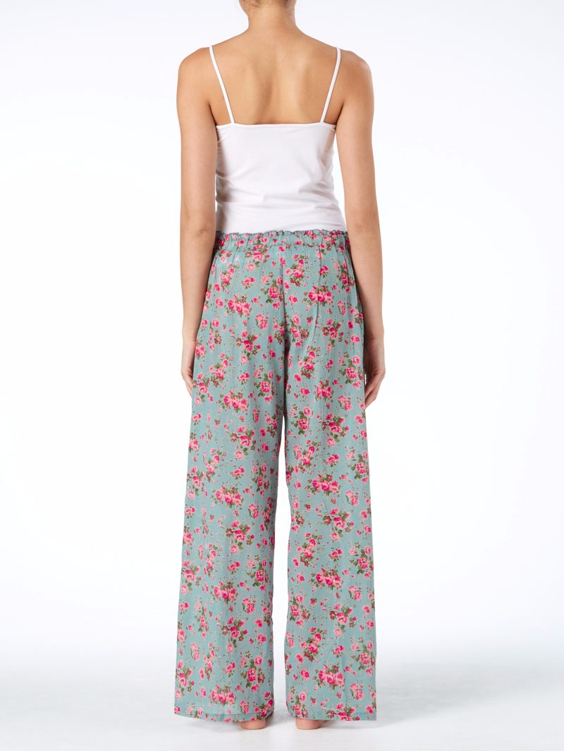 Womens Floral Pyjama Bottoms Rambling Rose - Dusky Blue