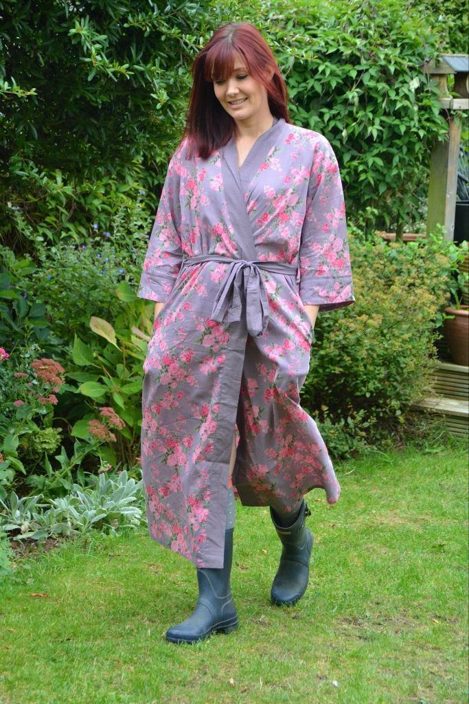 Long Kimono Dressing Gown - Ladies Plum Floral Cotton Dressing Gown