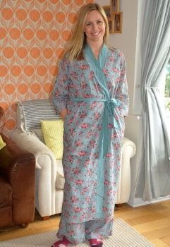 Long Kimono Dressing Gown Rambling Rose - Dusky Blue