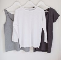 Organic Cotton Long Sleeve Top - White/ Light Grey/ Nude Pink