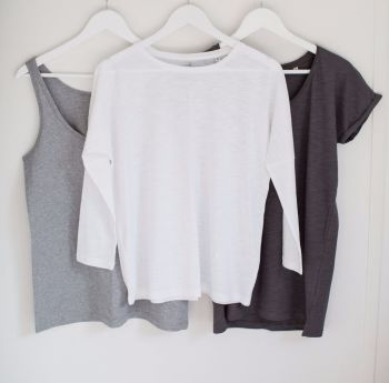 Organic Cotton Long Sleeve Top - White & Light Grey