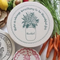 Large Cotton Bowl Cover - Green Thankful