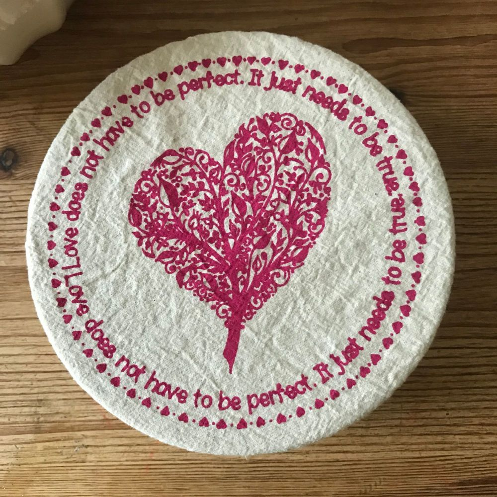 Cotton Bowl Cover Small Heart - Eco Friendly Gifts