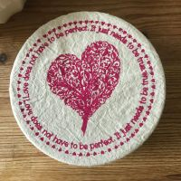 Small Cotton Bowl Cover - Pink Love Heart