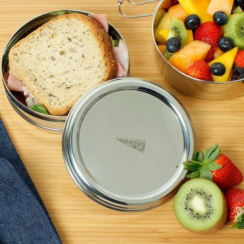 Two Tier Stainless Steel Round Lunch Box