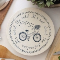 Medium Organic Cotton Bowl Cover - Navy Bike