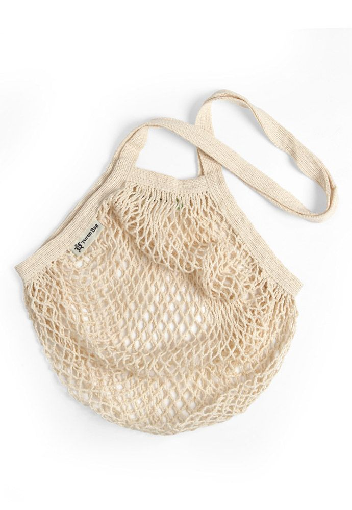 Turtle String Bag Natural Long Handled