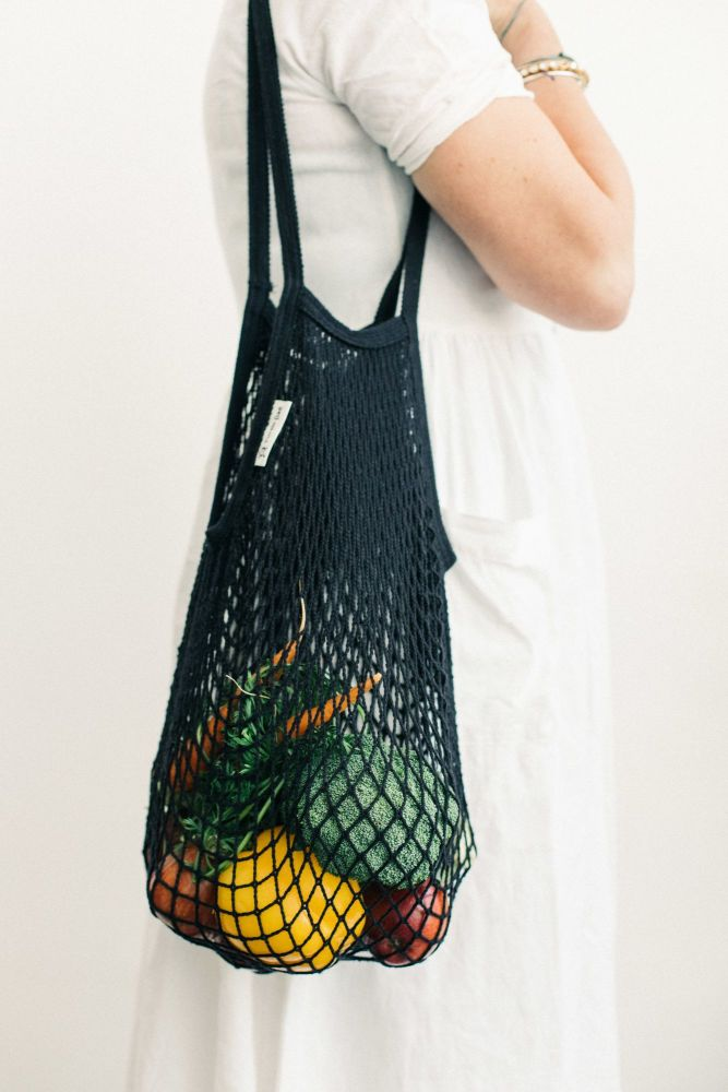 Turtle String Bag Black Long Handled